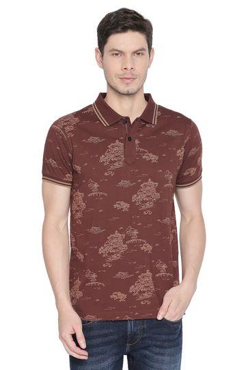 Basics | Basics Muscle Fit Chocolate Fondant Printed Polo T Shirt