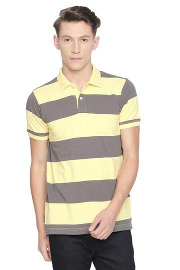 Basics   Basics Muscle Fit Lemon Verbena Stripe Polo T Shirt