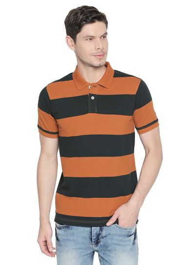 Basics | Basics Muscle Fit Pumpkin Spice Striped Polo T Shirt