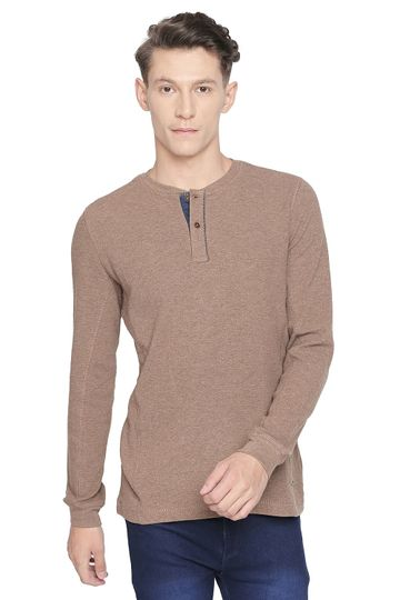 Basics | Basics Muscle Fit Bark Heather Henley Long Sleeve T Shirt