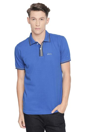 Basics | Basics Muscle Fit Snorkel Blue Polo Stretch T Shirt