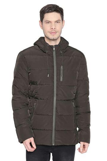 Basics | Basics Comfort Fit Black Olive Hooded Poly Fill Jackets