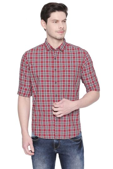 Basics | Basics Slim Fit Earth Red Checks Shirt