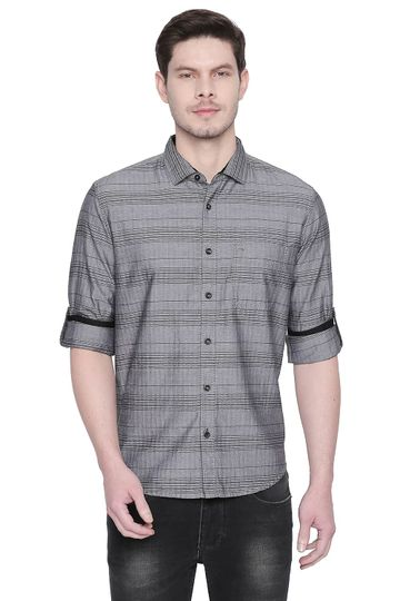 Basics | Basics Slim Fit Sedona Black Weft Stripes Shirt