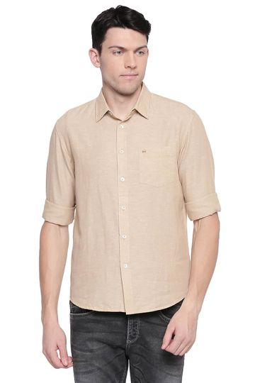 Basics | Basics Slim Fit Warm Khaki Cotton Linen Shirt