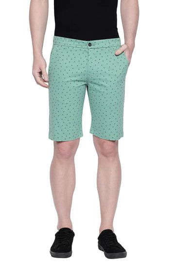 Basics | Basics Comfort Fit Turf Green Printed Stretch Shorts