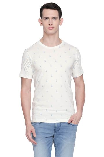 Basics | Basics Muscle Fit Cannoli Cream Printed Crew Neck T Shirt