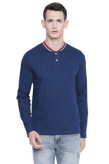 Basics | Basics Muscle Fit Estate Blue Henley T Shirt