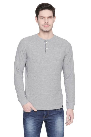 Basics | Basics Muscle Fit Heather Grey Henley T Shirt