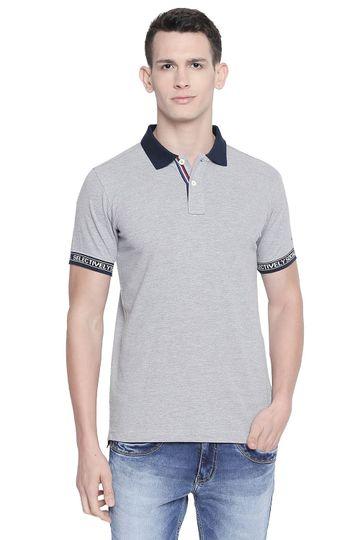 Basics   Basics Muscle Fit Heather Grey Polo T Shirt