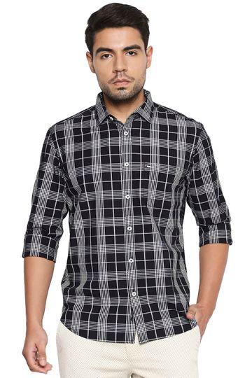 Basics | Basics Slim Fit Night Black Checks Shirt