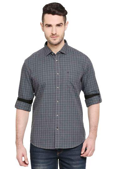 Basics   Basics Slim Fit Limo Black Checks Shirt