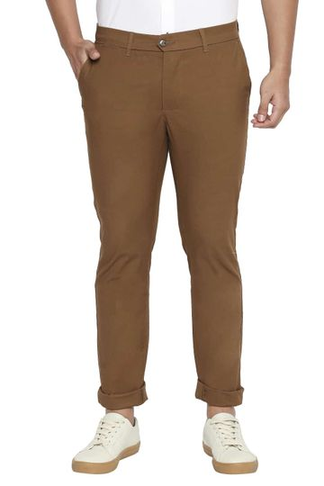 Basics   Basics Tapered Fit Bronze Brown Stretch Trousers