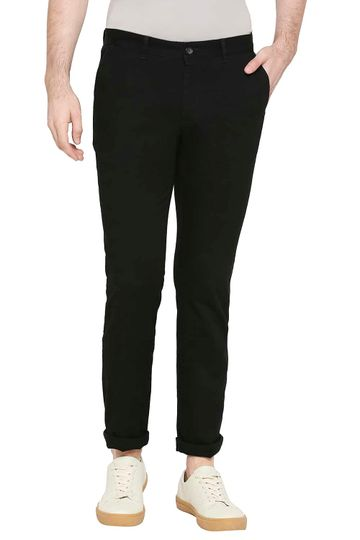 Basics   Basics Tapered Fit Stretch Limo Black Stretch Trousers