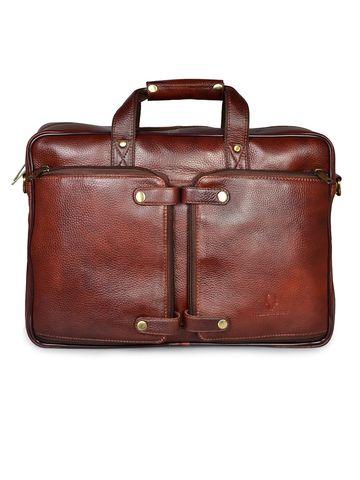 WildHorn   WildHorn 100% Genuine Leather Maroon Laptop Bag for Men