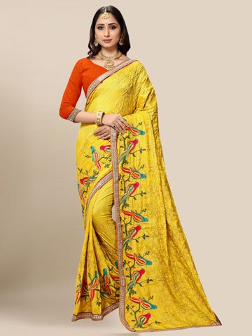 SATIMA | Women's Designer Yellow Embroidered Silk Blend Saree