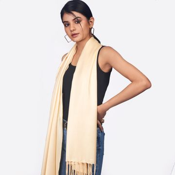 BELLEZIYA | Belleziya Beige Scarves For Women Stylish Long Fringes For Casual And Indian Wear