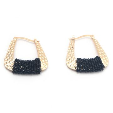 BELLEZIYA | Belleziya Gold Finish black beads hoop earrings
