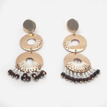BELLEZIYA | Belleziya Gold Finish & White pearled Drop earrings for women/Girls