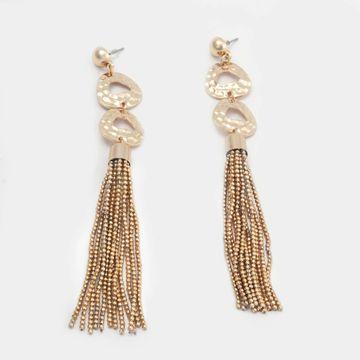 BELLEZIYA   Belleziya Gold Finish Tasselled Drop Earrings for casual/ evening wear