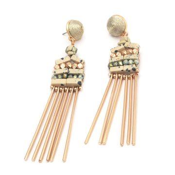 BELLEZIYA | Belleziya Stylish Gold Finish Stone Drop Earrings for women/girls