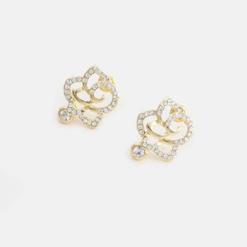 BELLEZIYA | Belleziya Gold Finish Floral Shaped Stone Studded Stud Earrings For Casual & Festive Wear