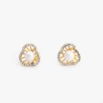 BELLEZIYA | Belleziya Gold Finish Stud Earring with Pearl For Women & Girls For Casual & Formal Wear