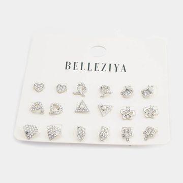 BELLEZIYA | Belleziya Silver Finish (Set of 9) Stud Earrings Set for Women & Girls For Casual & Western wear