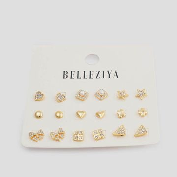 BELLEZIYA | Belleziya Gold Finish (Set of 9) Stud Earrings Set for Women & Girls For Casual & Western wear