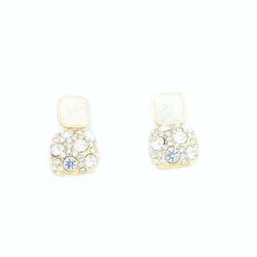 BELLEZIYA | Belleziya Gold Finish white stud earrings for casual and formal wear