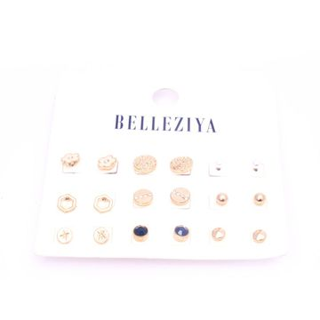 BELLEZIYA | Belleziya Gold Plated Pearl Earrings Stud  Set Of 9 Assorted Pretty Looking Fancy Jewelry For Women/Girls