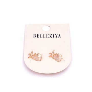 BELLEZIYA | Belleziya Gold Plated Fashion Earrings Drop Down Shell Star Fish Shaped Trendy Studs For Women/Girls