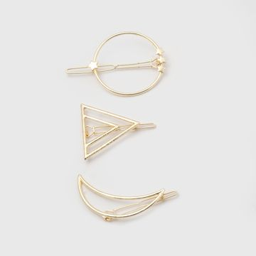 BELLEZIYA | Belleziya Gold Finish Geometric Shaped Hair pin set, Set of 3 for Casual & Evening wear