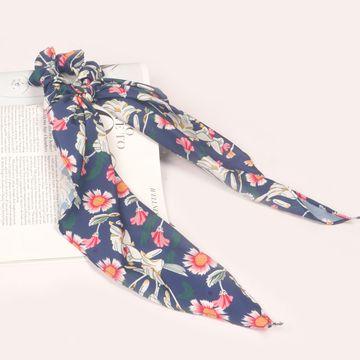 BELLEZIYA   Belleziya Blue Floral Patterend Scarf Schrunchie Hair bands for Women