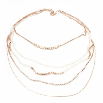 BELLEZIYA | Belleziya Gold finish Pink White layered Necklace for women/girls