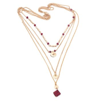 BELLEZIYA | Belleziya Gold finish Red toned Long necklace for casual and western wear