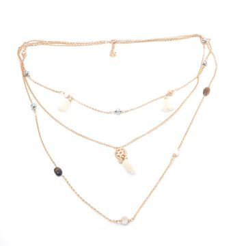 BELLEZIYA | Belleziya Gold finish white Tasselled Long Necklace for women and girls