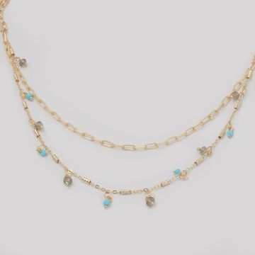 BELLEZIYA | Belleziya Gold Finish Layered Necklace with black & Blue beads  for Women & Girls blue 7 blackbeads