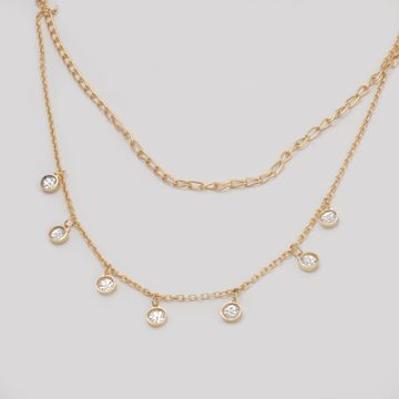 BELLEZIYA | Belleziya Gold Finish Layered Necklace embellished with Stones For Women & Girls