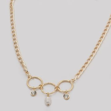 BELLEZIYA | Belleziya Gold Finish Necklace with loops & charms for Women & Girls.