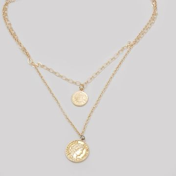 BELLEZIYA | Belleziya Gold Finish Layered Necklace with Vintage-inspired Coin Charms