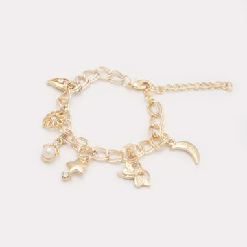 BELLEZIYA | Belleziya Gold Finish Chain Bracelet with assorted charms for Women & Girls