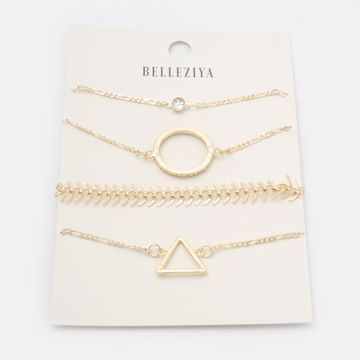 BELLEZIYA | Belleziya Gold Finish Bracelets set of 4 for Women & Girls For Casual & formal Wear