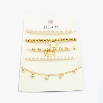 BELLEZIYA | Belleziya Gold Finish & Pearl Bracelet Set for Women & Girls For Casual & Formal Wear