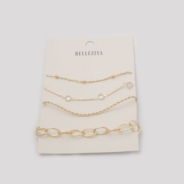 BELLEZIYA | Belleziya Gold Finish & Stone Studded Bracelets Pack of 4 For Women & Girls For Casual & Formal Wear