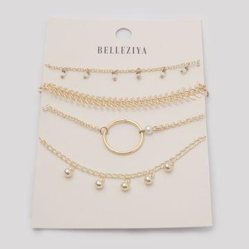 BELLEZIYA | Belleziya Gold Finish Bracelet Set of 4 for Women & girls For Casual & Eeving wear