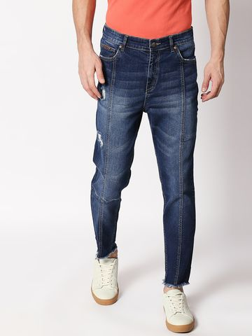 Bolts & Barrels | Bolts and Barrels Men Blue Mid Rise Ankle length Tapered Fit Jeans