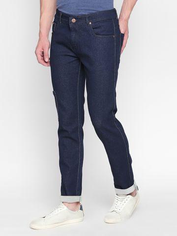 Bolts & Barrels | Men Dark Blue Mid Rise  Slim Fit Denim Jeans By Bolts & Barrels