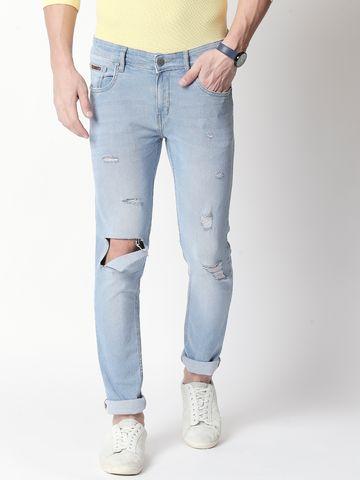 Bolts & Barrels | Mens Blue Mid Rise Full length Slim Fit Jeans