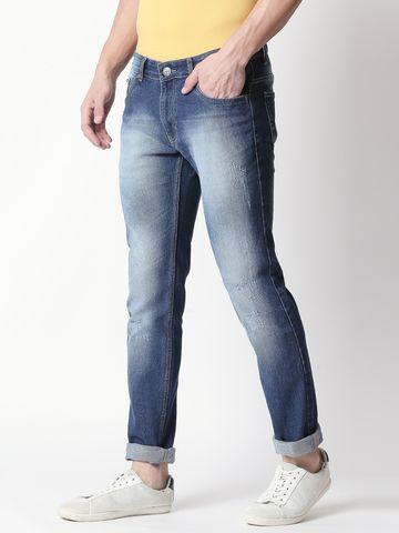 Bolts & Barrels | Men Blue Mid Rise  Slim Fit Denim Jeans By Bolts & Barrels